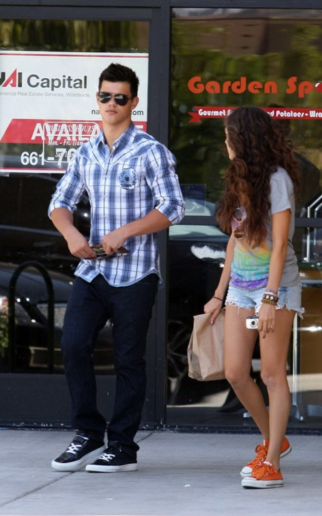 Taylor Lautner & Sister Leaving Chipotle Restaurant In Los Angel